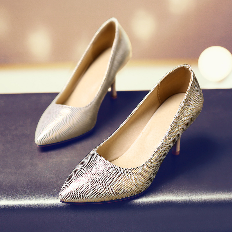 South Korean style sexy pointed toe pumps glitter sweet blue gold silver high heel stiletto women's shoes big size 21.5~27.5cm рубашка в клетку dc south ferry 2 south blue