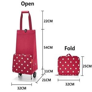 Image 4 - 2019 New Folding Shopping Bag Shopping Cart Small Pull Cart Women Buy Vegetables Bag Wheels Bags Shopping Organizer Package bag