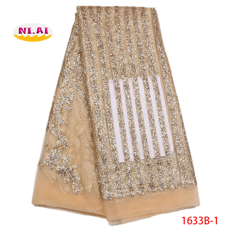 Glitter African Lace Fabric African Tulle Lace Dresses For Women Latest Gold High Quality Lace Fabric
