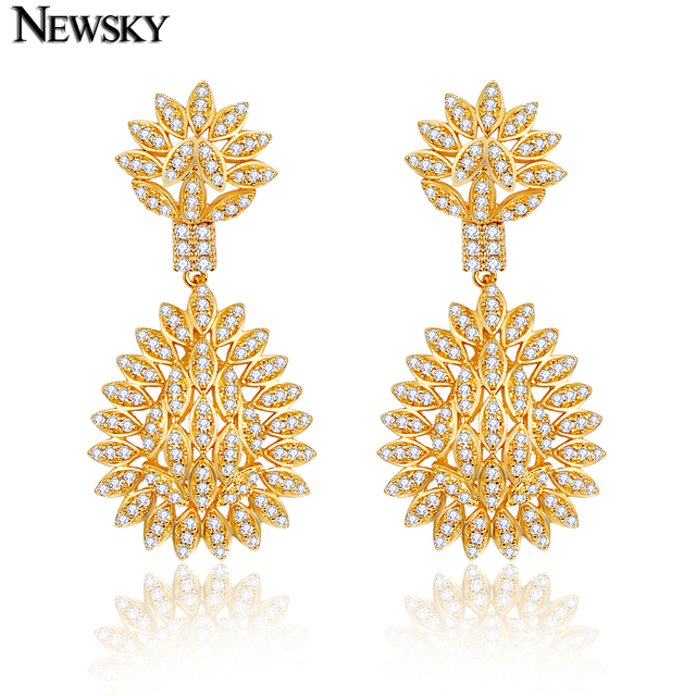 NEWSKY 2016 New Women Exquisite Gold Plated / Silver Pearl Earrings For Bride Wedding Wholesale Free Shipping