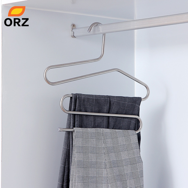 Orz Metal Coats Pants Hanger Multifunctional Wardrode Chest Clothes Organizer Holder Rack Trousers Suit Office Storage