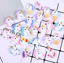Random Kawaii Flat Back Resin Cartoon Unicorn For DIY Craft Decoration Scrapbooking Accessories Charm R0046(China)