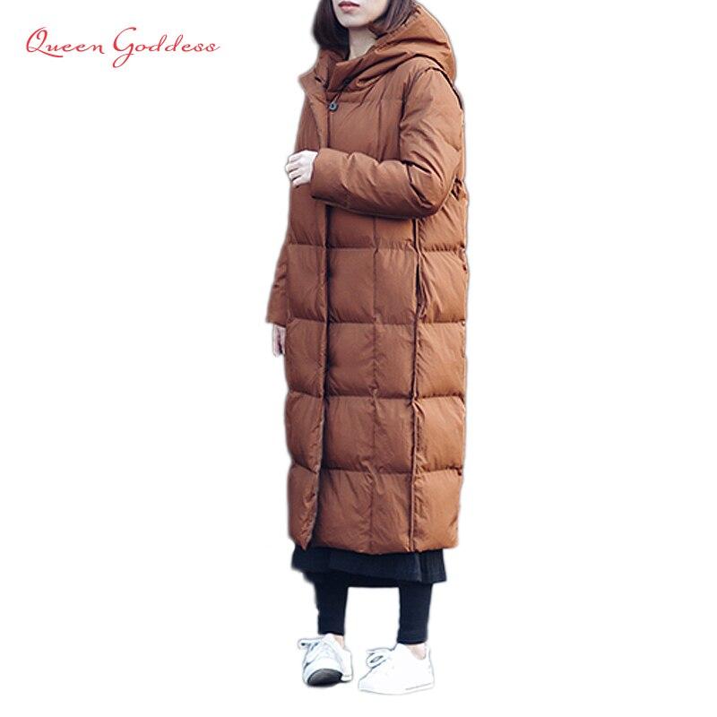 Mode automne et d'hiver épaissir et lâche style femme plus taille 90% blanc duvet de canard veste cocon parkas rétro mat tissu