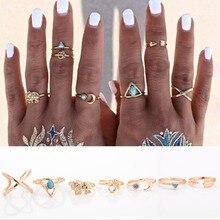 Jednoduché měsíční prsteny pro ženy, 7 ks/bal