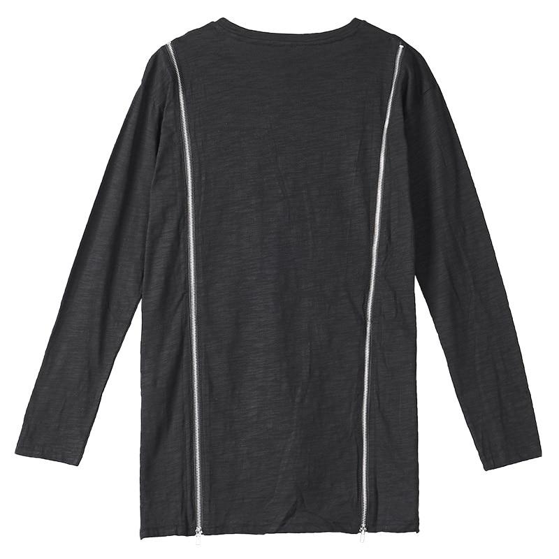 Асимметричная хлопковая футболка с длинными рукавами, Готическая мужская темно индивидуальная футболка с круглым вырезом, уличная Мужская футболка, мода 2018 - 5