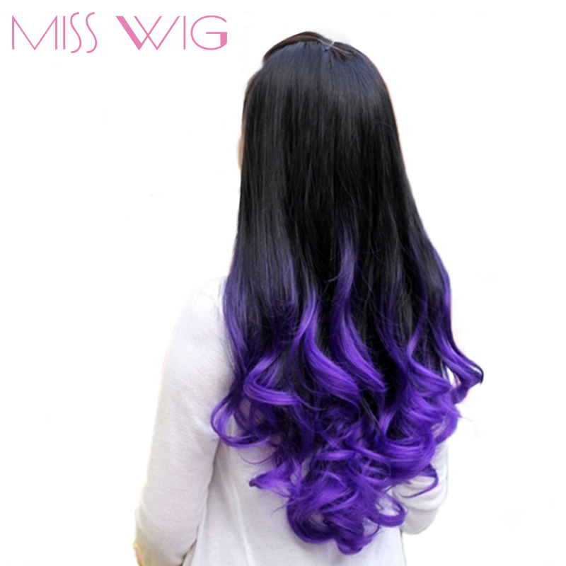 MISS WIG Long Wavy Half Wigs Purple Ombre 7 Color Available Synthetic Wigs For Black Women