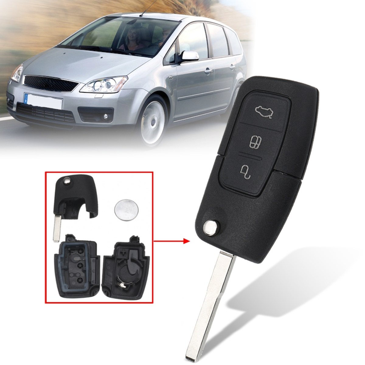 3 buttons remote key fob case shell with battery for ford. Black Bedroom Furniture Sets. Home Design Ideas