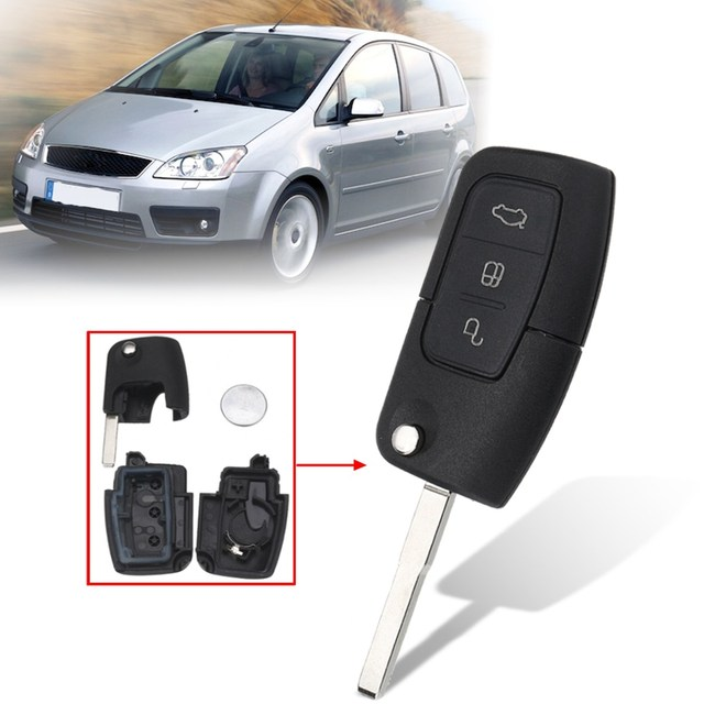 3 Ons Remote Key Fob Case Shell With Battery For Ford Focus Mondeo Galaxy Kuga C Max S 2003 2004 2005 2006 2007 2008