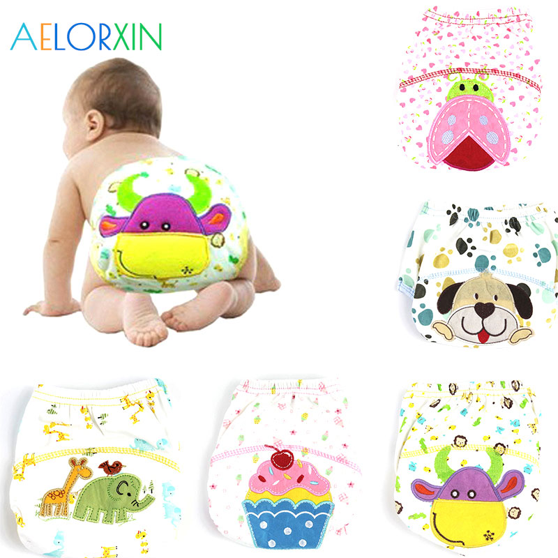 11.11 1Pcs Baby Infant Cotton Waterproof Reusable Diapers Nappy Briefs Boy Girl Underwear Washable Reusable Nappies Cloth Diaper