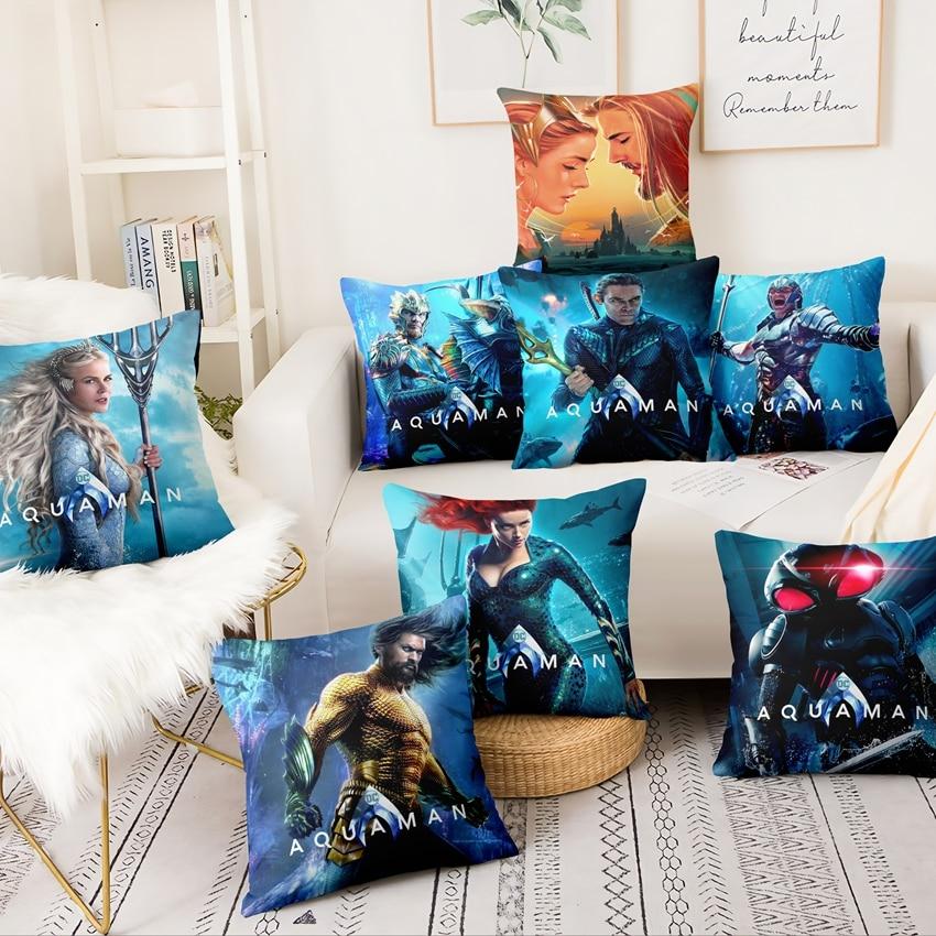 Super Soft Velvet Aquaman Surrounding Pillowcase Marvel Heroes Cushion Decorative Pillow Home Decor Sofa Throw Pillows  45*45
