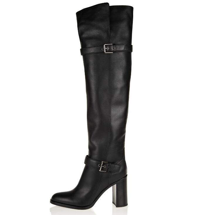 f838b76418e 2018 Autumn Winter Newest Black Leather High Heel Boots Round Toe Thick  Heels Woman Long Boots Buckle Strap Over the Knee Boots - aliexpress.com -  imall.com