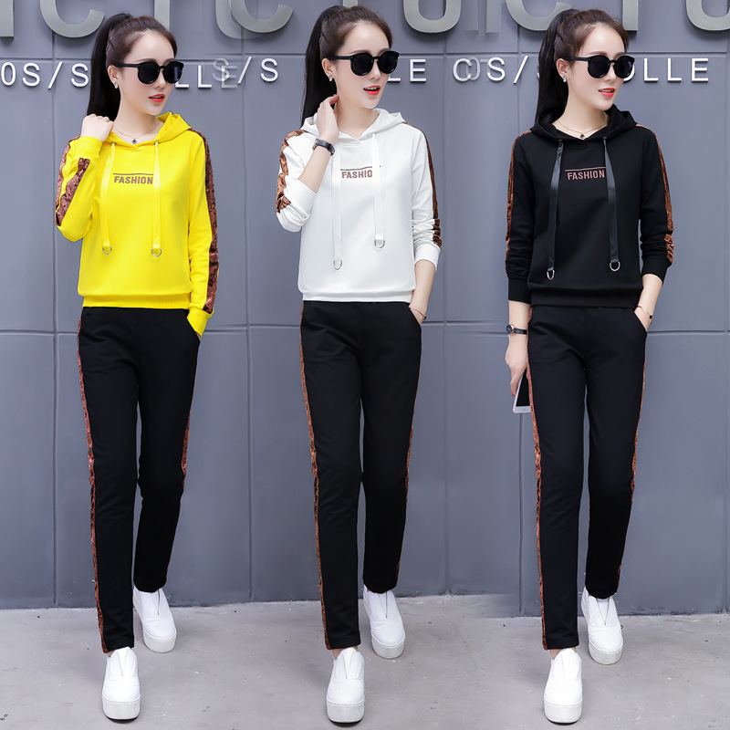 Women Sets Casual Tracksuit Newest Autumn Winter Letter Sporting  Hooded Hoodies+Pants Suit Two Pieces Sets Women Sportswear