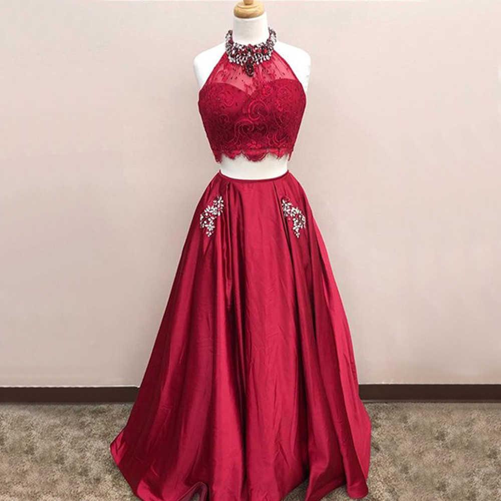 8e362ad33c03103 Пром платья Высокая шея бисера Кристаллы атласная Длинные торжественное платье  2019