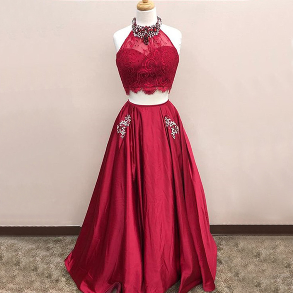 New Burgundy 2 Piece   Prom     Dresses   High Neck Beaded Crystals Satin Long Formal   Dress   2019 High Quality Women Evening Gowns Cheap
