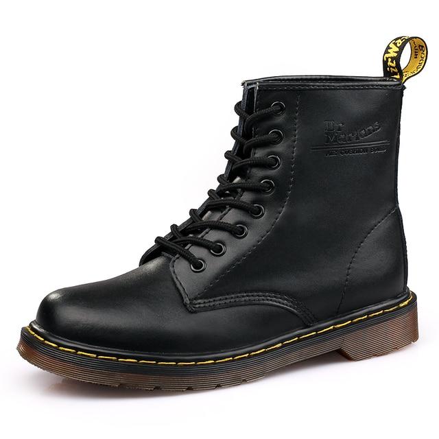 Buty męskie w dużych Martens skórzane zimowe ciepłe buty motocyklowe męskie botki Doc Martins jesień mężczyźni oksfordzie buty