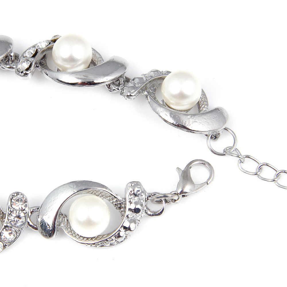 Hesiod Brand New sztuczna bransoletka perłowa moda damska Trendy złoty kolor srebrny łańcuszek kryształowa bransoletka stop regulowany