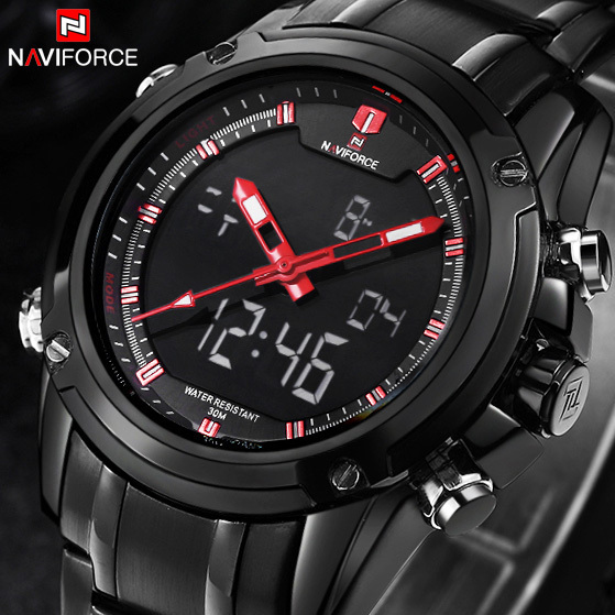 Brand NAVIFORCE Watches font b men b font luxury Full Steel Quartz Clock LED Digital Watch