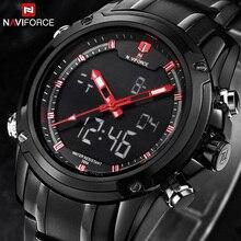 NAVIFORCE marca Relojes hombres de lujo de Acero Llena de Cuarzo Reloj LED Digital Reloj Militar Del Ejército reloj Deportivo relogio masculino