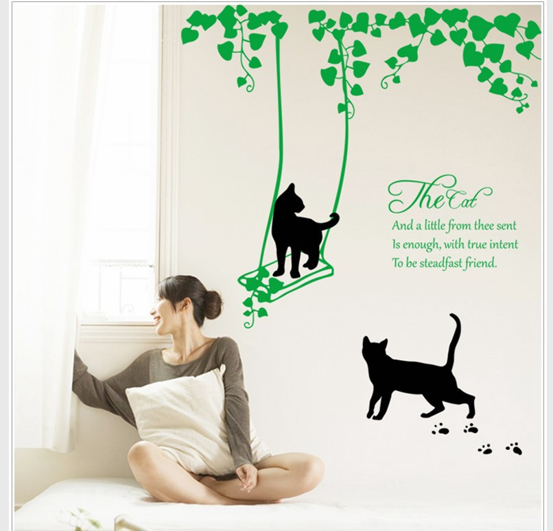 Black cat swing on green vines wall sticker green leaves the cat wall quote decal living room bedroom wallpaper diy home decor in wall stickers from home