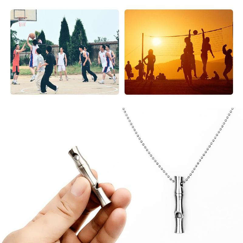 Stainless Steel Whistle Durable Emergency Survival Whistle Sports Referee Whistle with Chains for Outdoor Survival SuppliesZ95