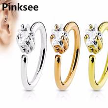 Circle Fake Clip Hoop Ear Cartilage Helix Earring Star Crystal Zircon Tragus Nose Ring Stud Eyebrow Piercing Body Jewelry AAA boako 1pc nose hoop nostril ring flower helix cartilage tragus nose jewelry zircon earring rings body jewelry fake piercing b40