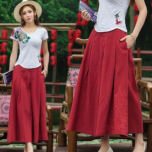 2018 Women's National Arts Style Embroidery Elastic Waist Skirts Wild WF732