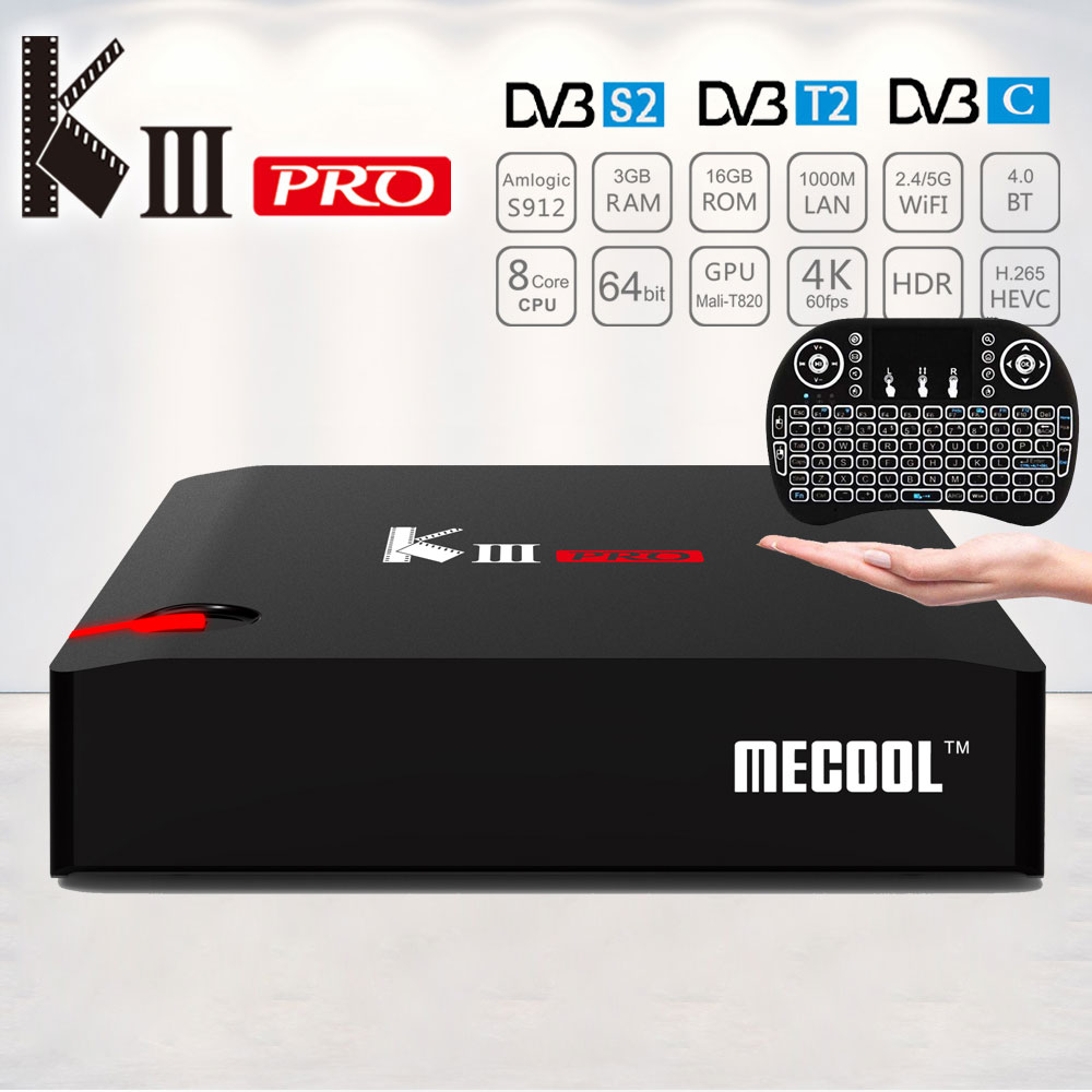 Mecool KIII Pro K3 Pro DVB-T2 DVB-S2 DVB-C Smart TV Box Android 7.1 Amlogic S912 4K Set top Box Satellite Receiver PK C400 Plus cms 333 black blue
