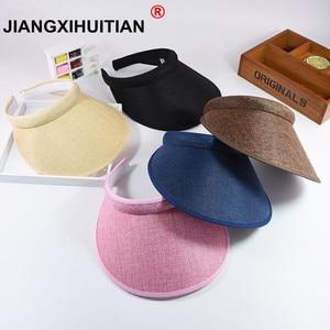 Summr Women Casual Sun Visor Hat Beach Empty hat Ladies Adjustable Nature Straw Topless Cap(China)