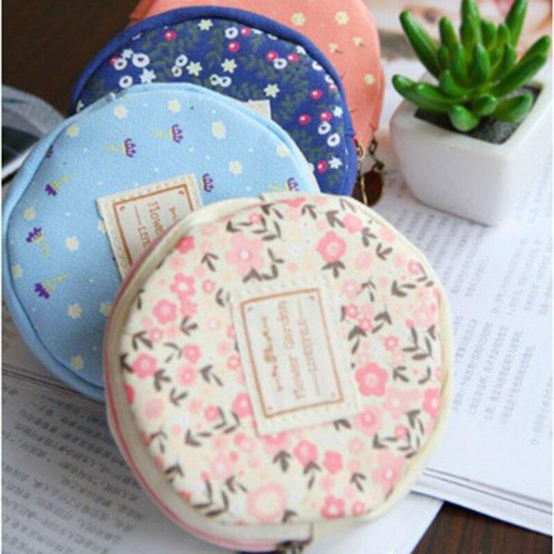 coin purse zipper pouch party supplies wallet carteira small kawaii floral purses for girls women kids round canvas mini bags