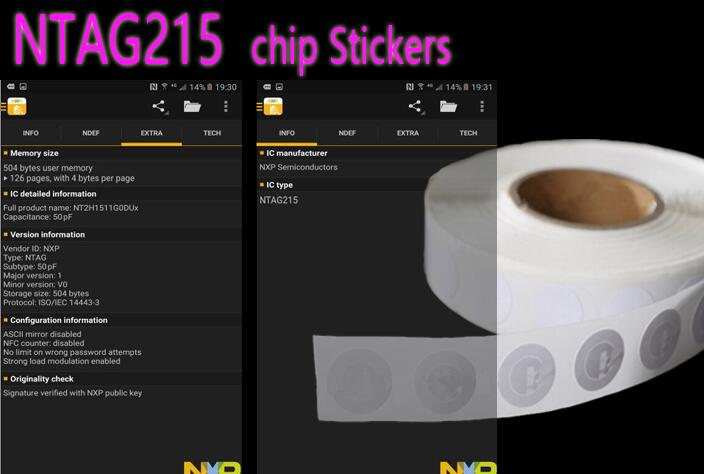 NFC NTAG215 TAG NFC Forum Type 2 Tag All NFC Phone Available NFC Adhesive Labels 100pcs