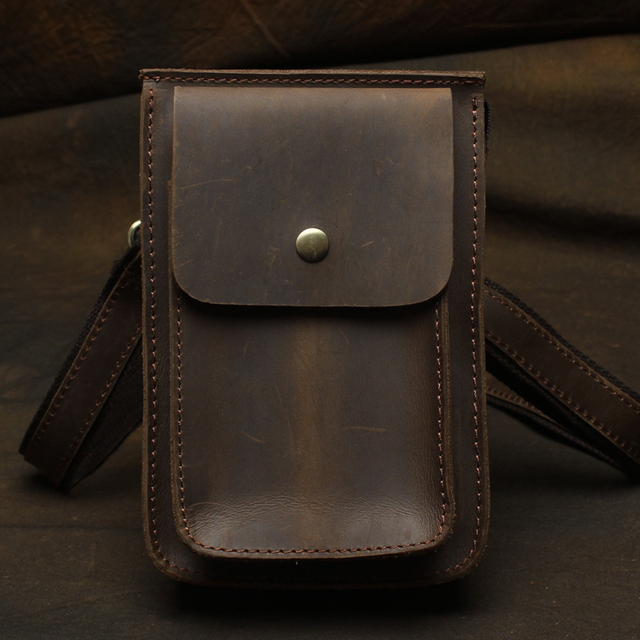 43e9d1bea02 Handmade Men's Vintage Waist Bag Genuine Leather Travel Riding Motorcycle  Belt Loops Hip Bum Bag masculina