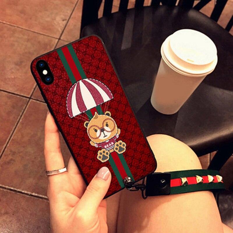 2 pcs 5.8 pouces Mode vintage 3D ours cas Pour iPhoneX téléphone shell cas couverture souple Pour iPhone X cas couverture arrière iX shell capas