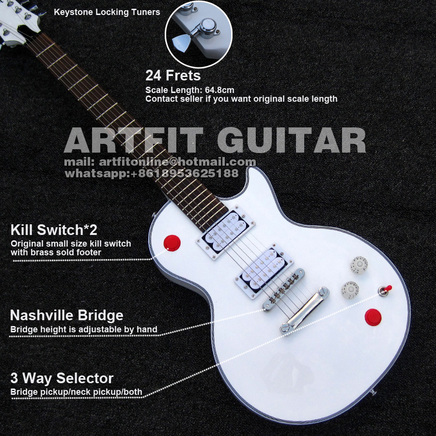 Buckethead 24 Frets Keystone Locking Tuners Killswitch White Hh 64 8cm  Scale Nashville Bridge Electric Guitarra Acoustic Electric Guitar Strings
