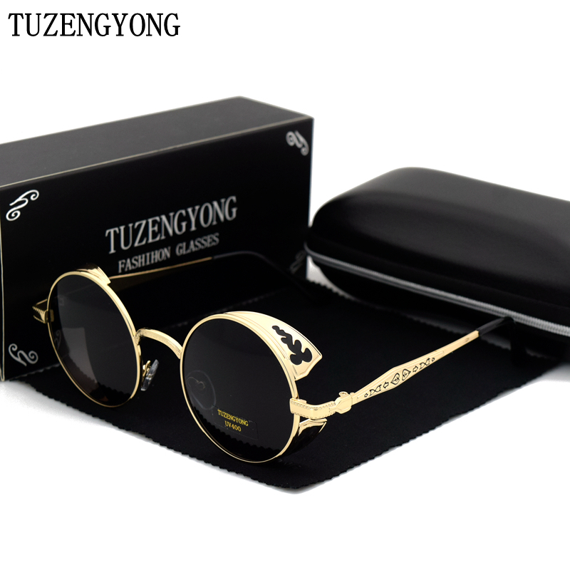TUZENGYONG High Quality Fashion Polarized Sunglasses Men/Women Round Metal Carving Vintage Sun Glasses Gothic Steampunk Sunglass