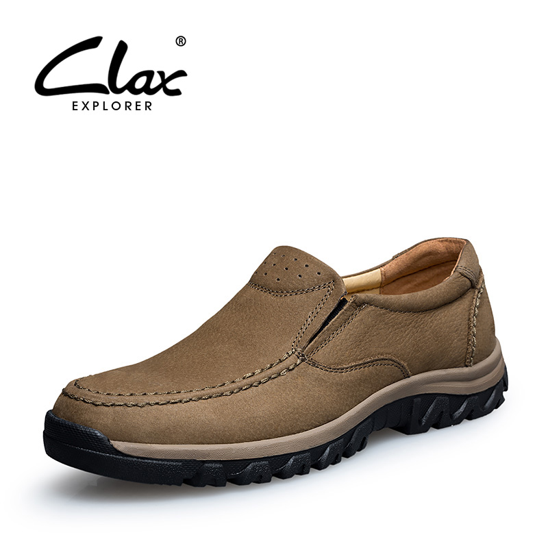 CLAX Men Casual Shoes Genuine Leather 2018 Autumn Shoe for Male Walking Footwear Soft Comfotable Outdoor Moccasin male casual shoes soft footwear classic men working shoes flats good quality outdoor walking shoes aa20135
