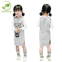 Outono Meninas Coreanas Vestido Maré Primavera de Manga Comprida Vestido de Camisola Costura Crianças Sólidos Moda Fenda do Vestido para 3-7 T