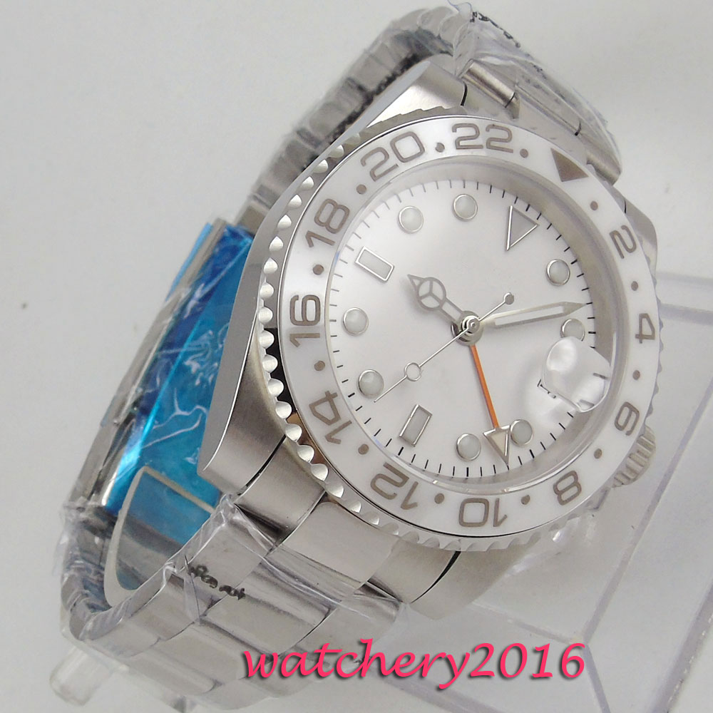 43mm Bliger White Sterile Dial Sapphire Glass Date Rotating Ceramic Bezel GMT Luminous Steel Case Automatic Movement men's Watch цена и фото