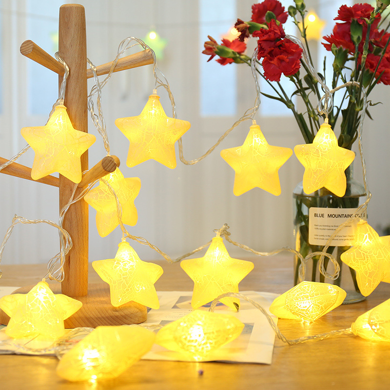BTgeuse 1M 3M Macaron LED Star Garland String Fairy Lights For Party Children's Room Holiday Home Decoration