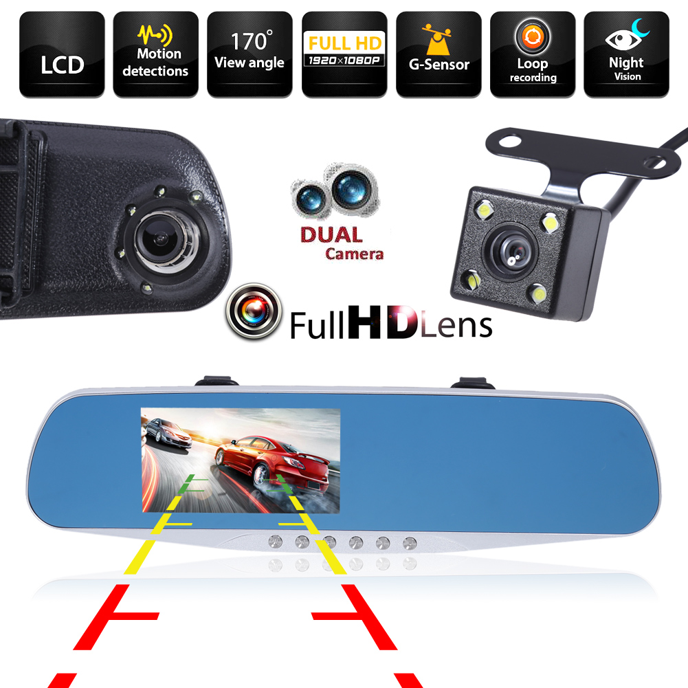 4.3'' 2 Lens Dash Cam Full HD 1080P Night Vision Car DVR Detector Camera Review Mirror DVR Digital Video Recorder Auto Camcorder image