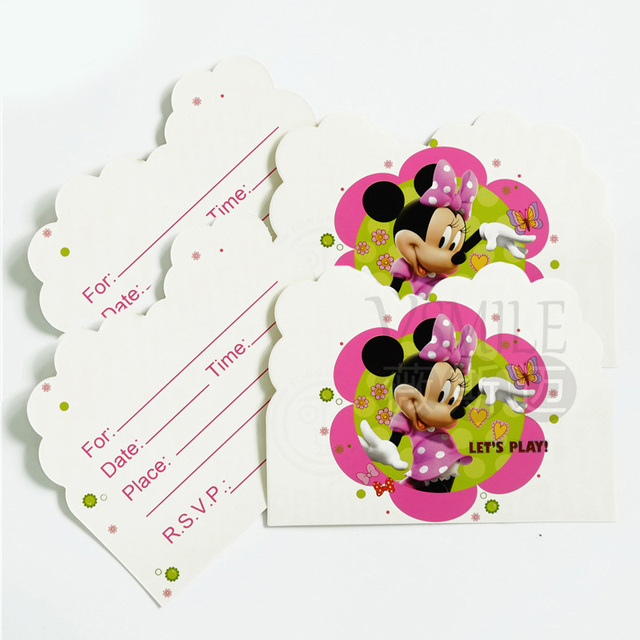 10pcs Disney Cute Minnie Mouse Sofia Princess Cartooon Cards Invitations For Kids Girls Boys Birthday Party Decorations Supply