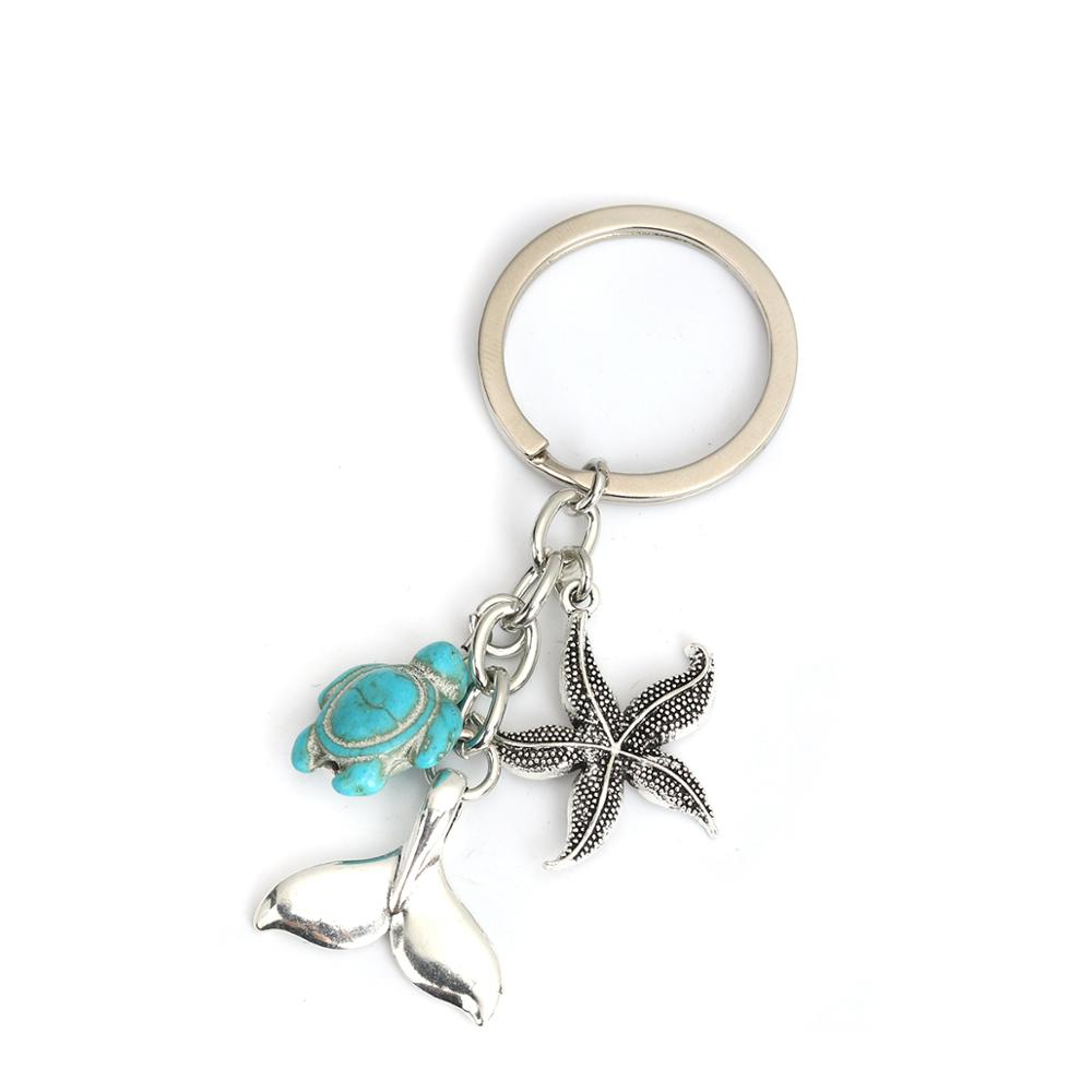 Doreen Box Ocean Jewelry Keychain & Keyring Antique Silver Color Star Fish Tortoise Pendant Message