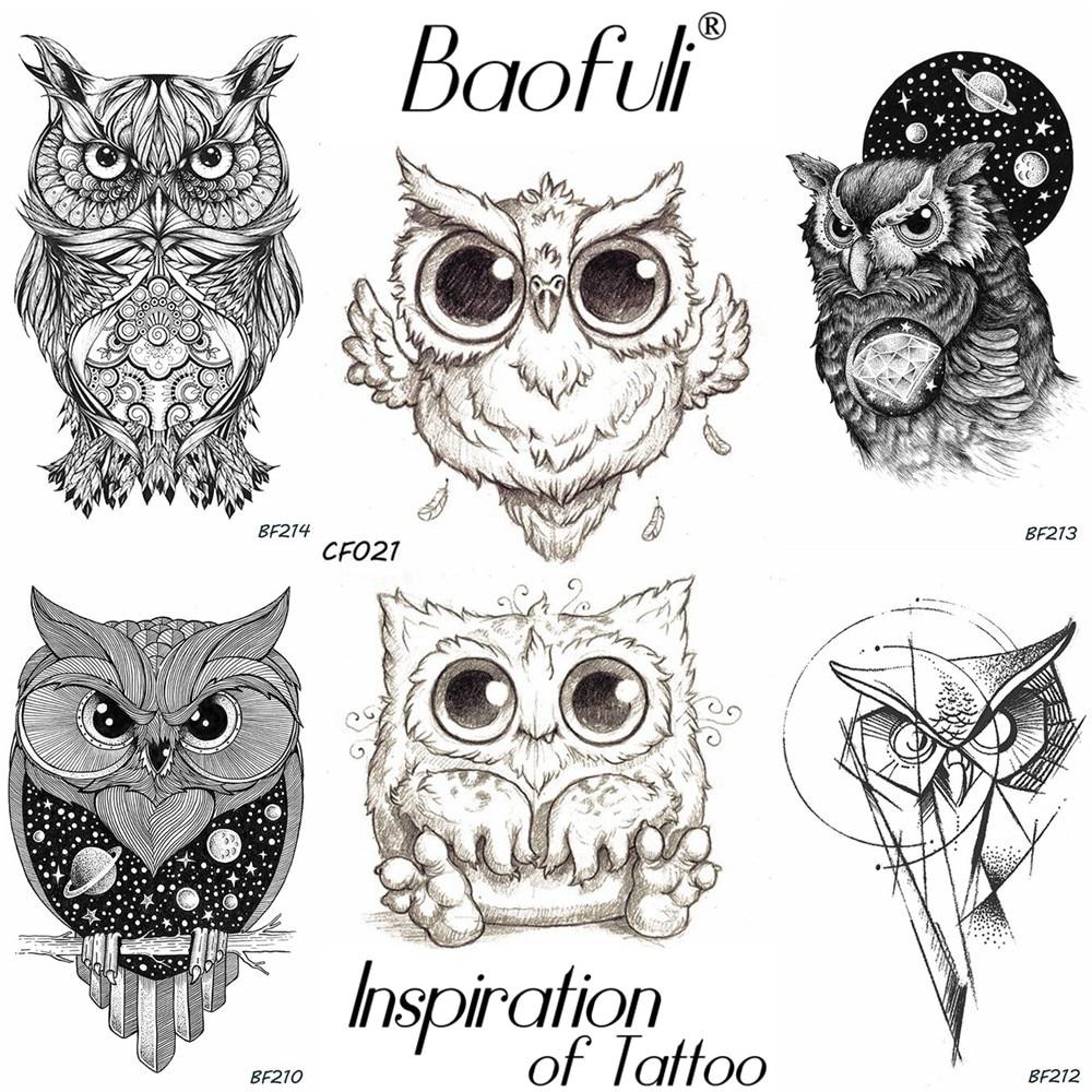 Baofuli Pencil Sketch Owl Cartoon Temporary Tattoo Geometric Art Tattoo Black Waterproof Fake Tattoo Planet Body Arm Women Men