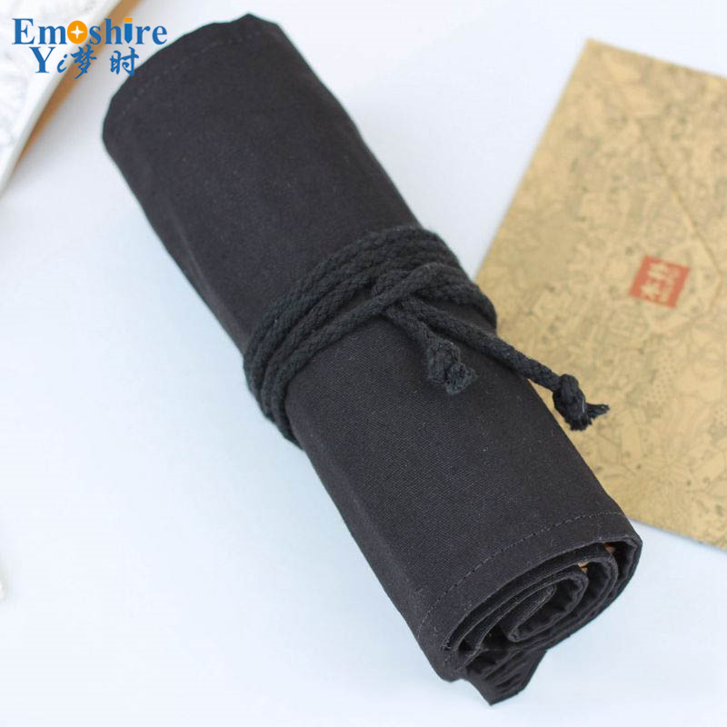 Black Pencil Case School Supplies Canvas Stationery Gift Large Capacity Pencil Box Pen Case Pencil Bag Penalty B051 high quality canvas large capacity solid color school multifunctional boys pencil case pen holder bag stationery penalty 04921