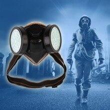 Новое поступление защитный фильтр двойной противогаз химический газ Респиратор маска для лица очки Горячая