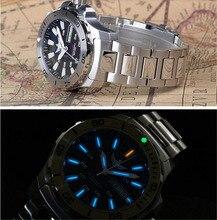 Relógio automático masculino 25 jóias trítio luz t100 eta2836 movimento mergulhador relógio wr300m