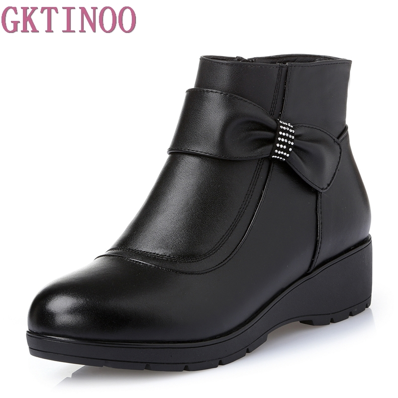 New Women Genuine Leather Boots Winter Flat Booties Soft Cowhide Women's Shoes Side Zip Ankle Boots Big Size maylosa 2017 vintage style genuine leather women boots flat booties soft cowhide women s shoes zip ankle boots warm winter shoe