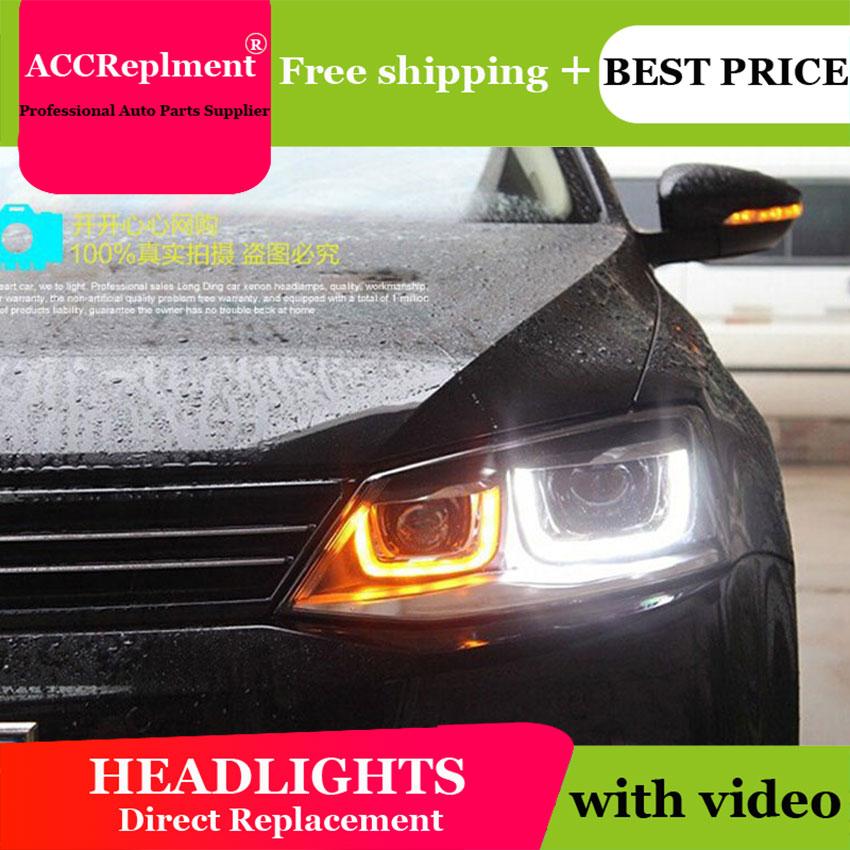 AUTO PRO 2011 2012 2013 2014 For vw jetta headlights car styling U LED DRL Q5