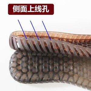Image 3 - Kauçuk tabanlar sonbahar kış kanca tabanı şeffaf kristal ayakkabı kaymaz tendon alt el örme yün terlik sandalet