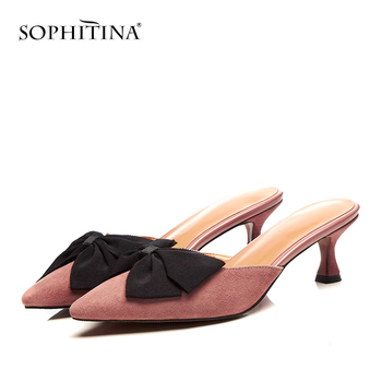 SOPHITINA New Sexy Pointed toe Ladies Slippers Summer Outside High Thin Heel Shoes Fashion Butterfly-Knot Women's Slippers MO186