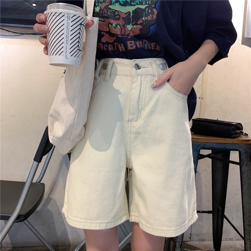 Streetwear Summer Women Denim Shorts Knee Length High Waist Wide Leg Shorts Jeans Blue White Short Femme Loose Half Long